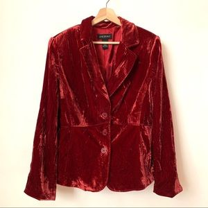 Lane Bryant crush red velvet blazer size 16